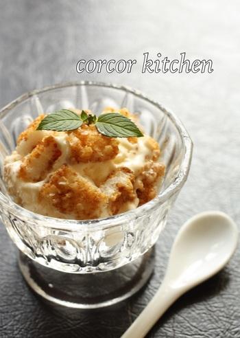 いつものお煎餅も素敵なアイスに早変わり!砕いたお煎餅を混ぜるだけのユニークな和風アイスです。お煎餅そのものの塩味を活かしているので、特に味付けも必要なくそのままでアレンジ完了。お煎餅があまり好きでないお子様もきっと笑顔で食べてくれるはず♪