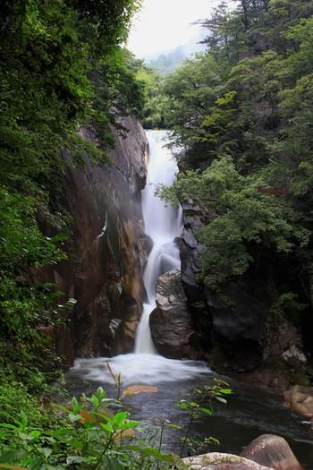 こちらは、山梨県甲府市の昇仙峡にある滝「仙娥滝(せんがたき)」です。絶壁から流れ落ちる滝が四季折々の自然と共に楽しめるスポットとなっています。  暑い夏は、都会のアスファルトやビル群から離れて、自然の中へ、水に癒されに行ってみるのはいかがでしょう。 マイナスイオンをいっぱい浴びて、水の力に癒されて英気を養ってくださいね♪