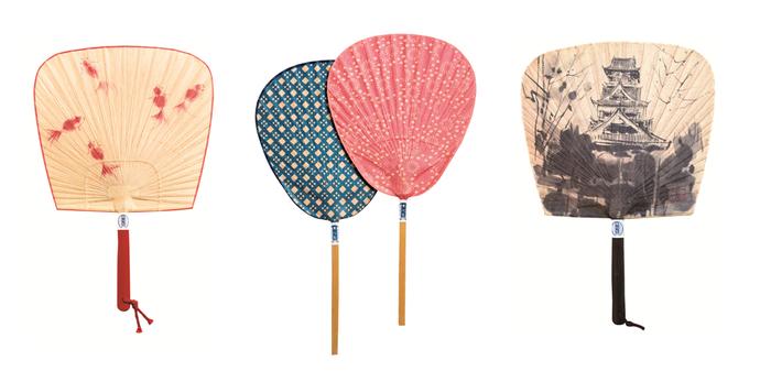 エアコンや扇風機もいいけれど、たまには日本の伝統工芸で、情緒ある「涼」を取り入れてみませんか? こちらは、400年の歴史を誇る伝統工芸品の「来民(くたみ)渋うちわ」。柿渋を縫った和紙は敗れにくく、防虫効果もあり、なんと100年使えるといわれている完全手作業の逸品です。写真右は、1本に付き500円が熊本城の修繕費に寄付される復興支援商品。ぜひチェックしてみて。  栗川商店 [左] 渋うちわ仙扇(せんせん)金魚 \4,000 [中央]渋うちわ仏扇(ぶっせん)各 \1,200 [右]熊本城 復興支援 渋うちわ \3,000