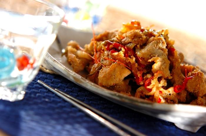 お肉にしっかり味がついているので、家にある野菜をいれて焼くだけ♪コチュジャンのピリッとした辛さがクセになりそう◎
