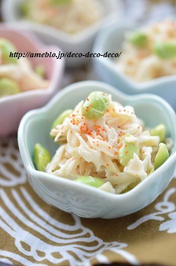 ■切り干し大根と枝豆の一味マヨ和え  切干大根を水で戻して、材料を混ぜるだけ!食感が楽しい一品。カニカマを入れても良いですね。