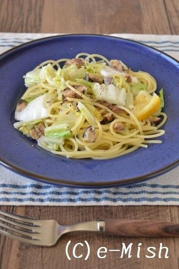 オイルサーディンとレモンの香りが爽やかなマイルドな塩味のさっぱりパスタです。やわらかな白菜の甘みもぎゅっと詰まっています。