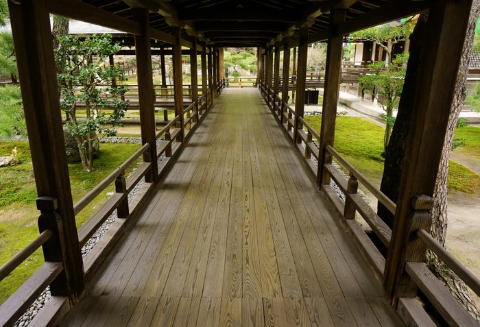 水墨画のように素晴らしい境内の庭を眺めながら、渡り廊下を歩いていると、平安時代の貴族の館に迷い込んだような気分を味わうことができます。