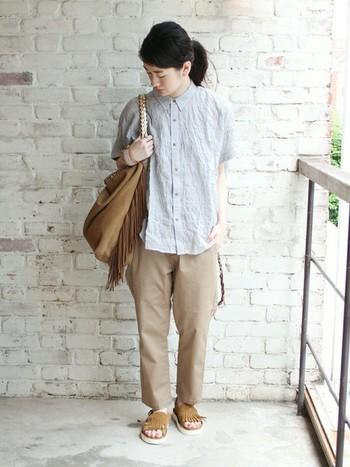 ラフなシャツスタイルですね。ビッグシャツにチノパンツを合わせて、メンズライクにまとめた着こなしです。 ネックを上まで止めて、かっちり感をプラスしています。