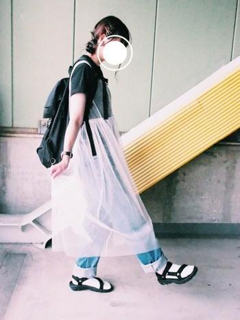 デニム×白靴下×テバのシティーボーイ風の着こなしに、ふんわりガーリーなレースワンピがアクセントになっていますね。