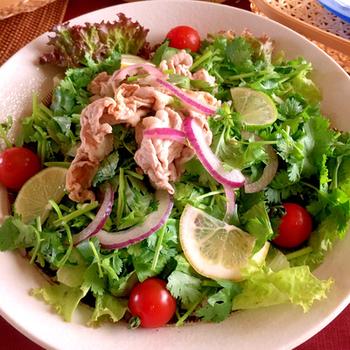 パクチーの香りとレモンの爽やかさであっさりと、だけど豚肉も入っているので食べ応え抜群のサラダです。