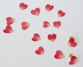 バラの花びらを樹脂コーティイングして作られたピアスです。 ハート型と自然なグラデーションカラーが、大人ナチュラルな服装ともマッチしそうです。