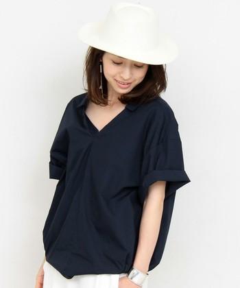 【首】スキッパーシャツなどでパリッと決めたら、首元は少し開いて肌を見せることで、上品でスッキリした仕上がりになります。