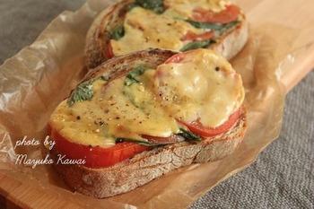 チーズは切らしているけどお餅だけは残っている……なんて時でも、おいしいピザトーストは作れちゃいます。お餅がとろけるチーズに変身する、変わり種レシピ♪