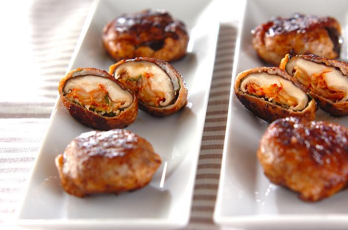 しいたけと豚肉の間にはさんだ大葉とキムチがアクセント。キムチのインパクトを、しいたけがソフトな味わいにしてくれる、食べ応えのある一品。