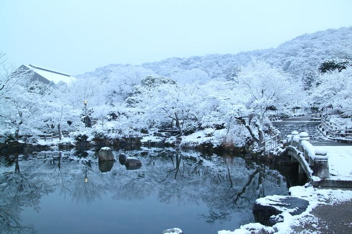 雪化粧した円山公園の美しさは格別です。雪を積もらせた庭園を日本庭園の池が鏡のように映し出し、幻想的な景色を見せてくれます。