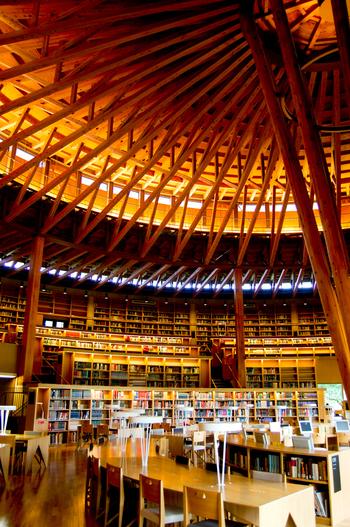 屋根の構造が圧倒的な存在感を示す館内は、秋田杉が豊富に使われ、木の香りと温かみにより安らぎが感じられる空間となっています。建築家・仙田満氏の設計で、村野藤吾賞、日本建築家協会賞国際建築賞2010、2014年グッドデザイン賞等、多数の賞を受賞しており、建築物としても高い評価を得ています。