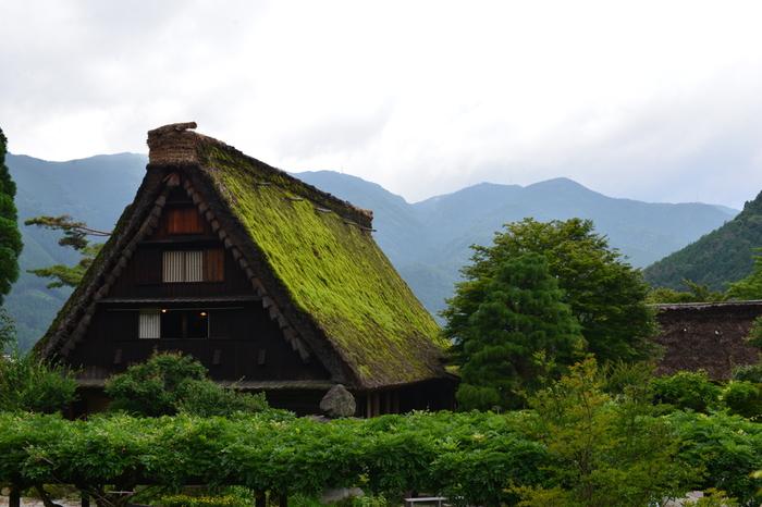 下呂温泉最大の観光施設、下呂温泉合掌村に一歩足を踏み入れると、まるで日本昔話の世界に迷い込んだような気分を味わえます。茅葺屋根の合掌造り家屋と周囲の山々が織りなし、村の中はのどかで牧歌的な雰囲気が漂っています。