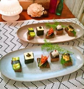 キューブ型のサイコロステーキを利用した、和風のオシャレなオードブル。飾りに海苔を使ったり、味付けに柚子胡椒や山椒など和の調味料を使うことで和風に演出しましょう。