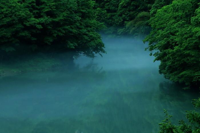 鳩ノ巣渓谷から白丸ダムの終着点、奥多摩白丸ダムで気候と条件がそろえば素晴らしい景色が待っています。霧立ち込める湖面が周囲の深緑を鏡のように映し出す様は幻想的で、ダム湖は人造物とは思えないほど神秘的な雰囲気を醸し出しています。