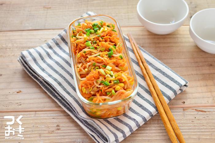 切り干し大根と豆もやしの食感が楽しめるピリからのキムチ風は、常備菜としておつまみとしておすすめの一品です。
