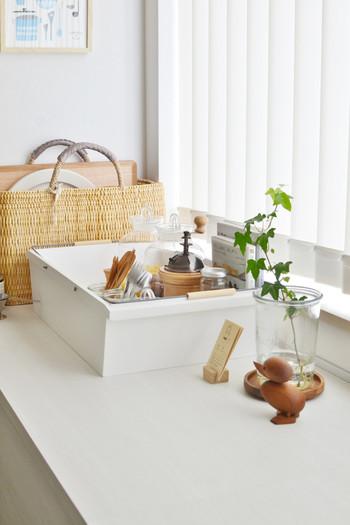 棚の上に置いてあるものは使う頻度の高いものであったり、お気に入りのものであったりするそうです。そういったものも箱に入れることですっきりとした印象に。キッチンの雰囲気と合っていますよね。