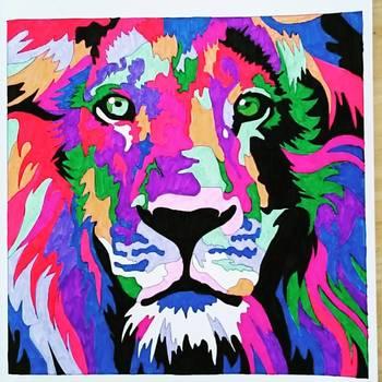 なんとも色鮮やかなライオン!こんな色使いは自分ではなかなか思いつきませんね。