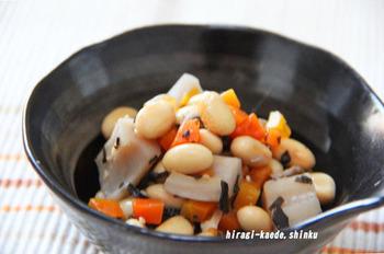 食物繊維が豊富に含まれている「大豆」もダイエットに良いとされる食材です。ふっくらと優しく煮たお豆をお弁当にも♪