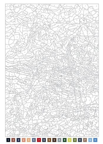 ①パズルぬりえの基は、このような線画です。 下にある、小さな四角に上のイラストと合番になる番号がふってあり、その四角内の色と同じ色(または同系色の色)を塗っていくと絵があらわれてきます。