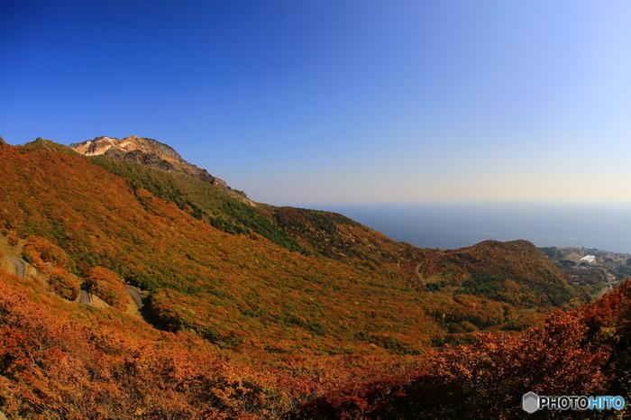 函館市の東側、亀田半島の東端にある「恵山」は、日本百名山のひとつにも指定されている活火山。春はツツジの名所として知られていますが、そのツツジが一斉に紅葉する秋の景観も見事です。道立自然公園として指定されており、車で火口付近まで登ることができます。