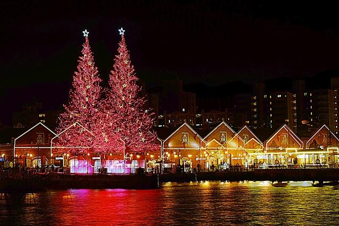 歴史ある建物や港の風情を楽しみたいならベイエリアへ。金森赤レンガ倉庫群は明治2年、初代渡邊熊四郎が「金森洋物店」を開いたことに端を発します。現在はたくさんのお店が立ち並び、ショッピングやグルメなど、季節や天気を問わず楽しめるスポットに。12月には華やかな「クリスマスファンタジー」が開催され、ロマンティックなムードがたっぷりです。