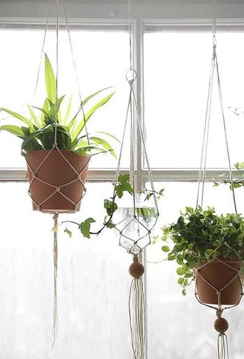 空間にそっと馴染む細い麻紐のシンプルスタイル。長さを変えて窓辺に飾るだけでリズムが生まれて楽しい雰囲気に♪