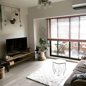 TV周りにグリーンを配置して、無機質な家電色を抑えた心地よい空間に。