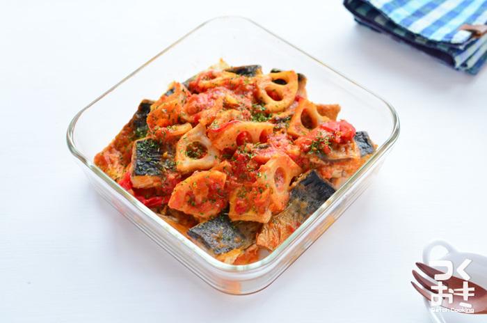 秋鯖も脂がのって美味しいですよね。鯖ではなくてさんまで作ってもいいかも。トマトとレンコンで意外な組み合わせですが、作り置きしておけばお弁当のおかずとして、彩りも鮮やかな一品になります。