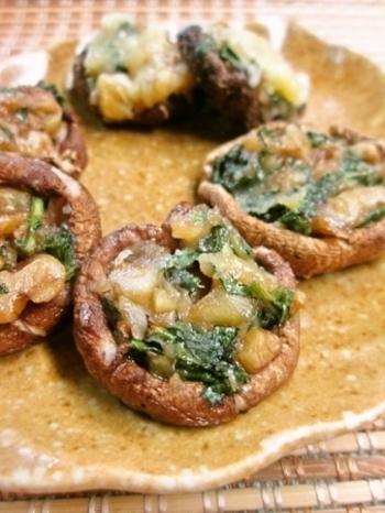 椎茸の旨み、サツマイモとくるみの甘み、それにチーズのコクとに大葉がうまくミックスされた美味しい一品になります。盛りだくさんで見た目も豪華でお弁当のおかずにもオススメ。