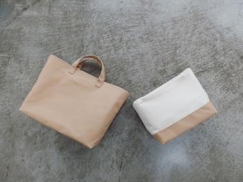 ベージュ・キナリ・カラシ・アカネ・ネイビーの5色から底のカラーを選べます。単体でミニトートバッグとして使っても◎