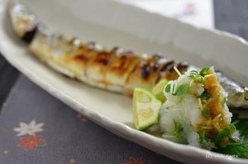 魚を焼く時間は青魚2匹程度だと、両面グリルで8~9分ぐらい、片面グリルでは最初に7分、裏返して5分くらいを目安にしてください。皮にまんべんなくこんがりした焼き目がついたら出来上がりです。