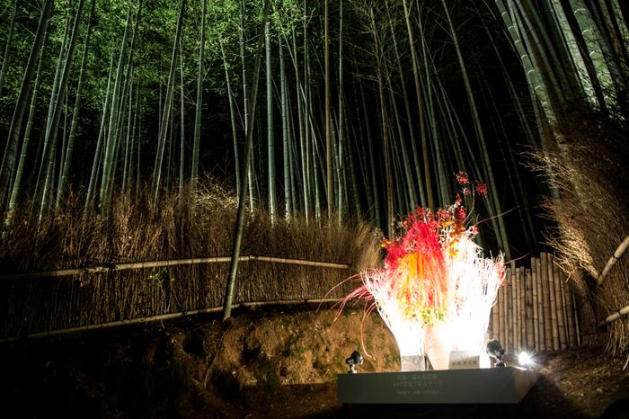 嵐山花灯路では、至る所で、日本の伝統文化を象徴する生け花をモチーフとしたライトアップが行われています。