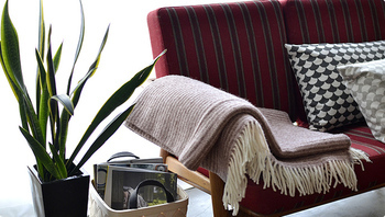 こちらはシンプルな細いボーダー柄のスローケット。ソファのそばに置いておけば、いつでもひざ掛けや昼寝用の毛布として活躍しますね*