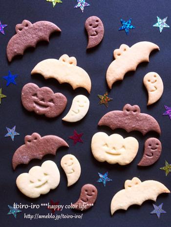 こちらはクッキー型を使ったレシピです。シンプルにプレーン生地とココア生地の2色で。チョコペンが苦手な方には、顔もいっしょに型押しできるタイプがおすすめです♪