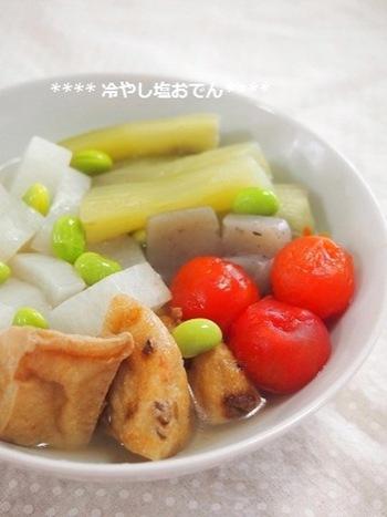 夏にもおでんを食べたいときはぜひこちらを。冷やしおでんのレシピです。夏にもぴったりな味付けが食欲をそそりそうです。
