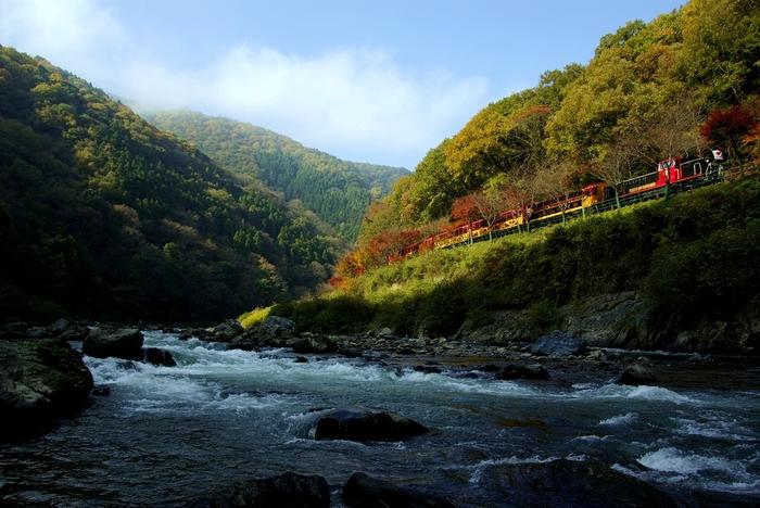 【保津川渓谷沿いを走る「嵯峨トロッコ列車」】