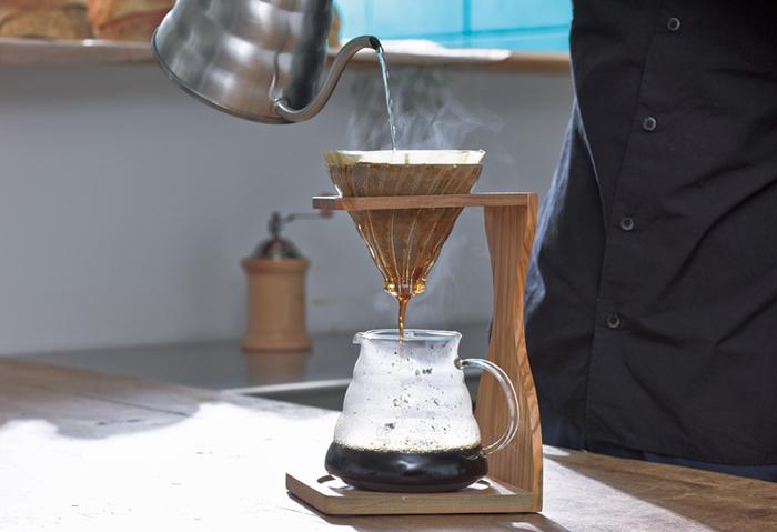 ドリッパ-にはスパイラルリブという凸部があります。ペーパーとドリッパ-に隙間をつくることで、蒸らしの時にコーヒー粉がふくらむようになっています。