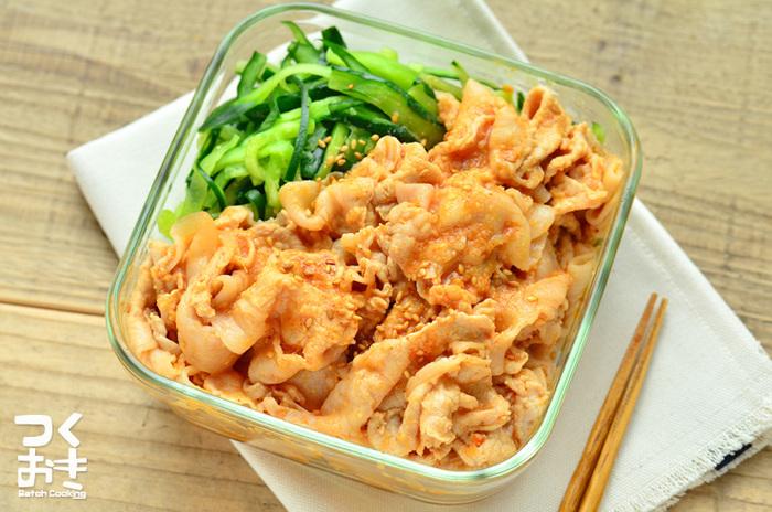 冷たいままでも温めなおしても、おいしく食べられる常備菜です。きゅうりはお好みで添えて。茹でる手順にちょっと時間がかかりますが、丁寧にやることが美味しさのコツです。【冷蔵保存 5日】
