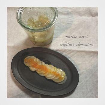 かぶのマリネにみかんジャムを添えて・・♪フルーティーな味わいだけでなく、見た目も色鮮やかです。