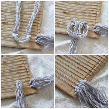 ②【フリンジ部分の作り方】 カットした毛糸の束を縦糸の下にくぐらせ、図2のようにぐるっと通します。図3のように結んだら位置を調整し、お好みの長さに揃えます。