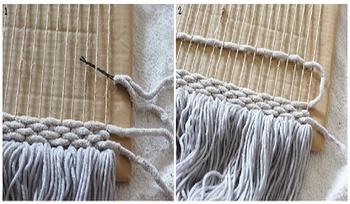 ③【織る】 ヘアピンに毛糸を通し、縦糸を上下順番にすくっていきます。図2のように続けて織っていきます。  決まりはないので、途中で糸を変えたり自分の感性でアレンジしていきましょう♪
