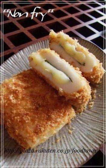 はんぺんに溶けるチーズがなんとも美味。そして大葉がさっぱりとアクセントになる一品。できたてのアツアツも美味しいですし、お弁当のおかずにもいいですね。パン粉をあらかじめ炒めて焦げ目をつけておくのが香ばしくいただくコツです。