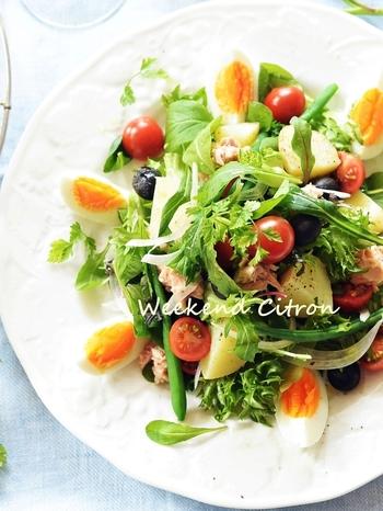 野菜たっぷりのニース風サラダはおもてなし料理にはピッタリです。ゆで卵の白と黄色、トマトの赤、葉物野菜の緑が美しいサラダはワインも進みそうですね。