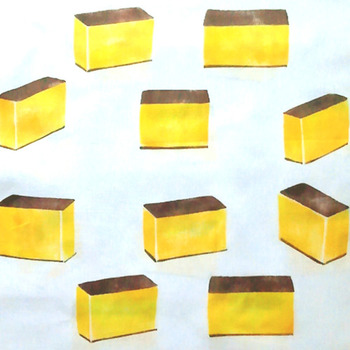 たまごたっぷりでほんのり甘そうな黄色。こんがりと焼かれた濃い茶色。アングルが微妙に異なるカステラが並び、たのしい雰囲気です。