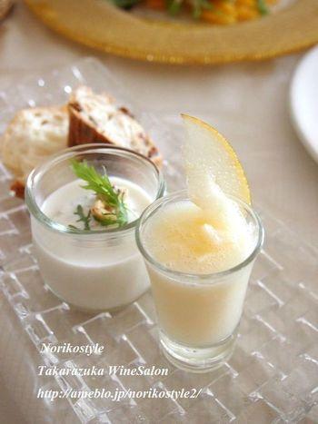 「飲む点滴」と言われる甘酒と、食物繊維が豊富な梨を使った冷製スープ。ミキサーを使った簡単レシピです。
