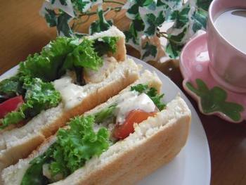 ボリューミーなサンドイッチです。お肉もお野菜もたっぷりとれて、これだけで1品弁当の完成♪