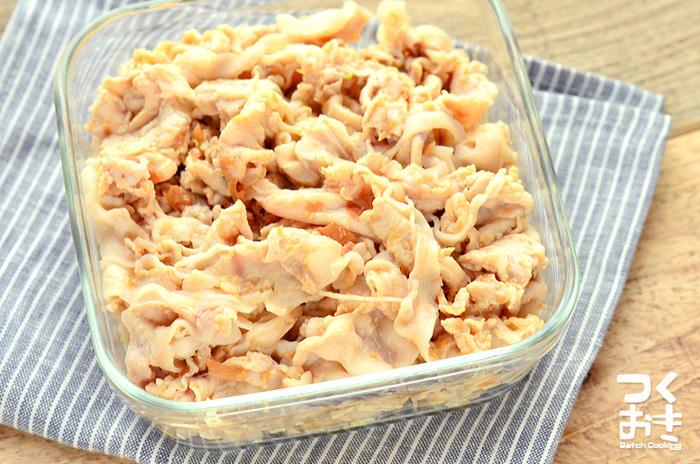 丁寧に茹でた豚肉は時間が経ってもしっとり柔らか。梅干しは殺菌・抗菌効果があるので、お弁当食材としても安心です。