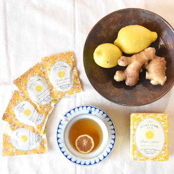 「FLTジンジャーレモンティー」 フロートレモンティーに熊本県産の生姜をプラスしたもの。これからの季節にぴったりですね。身体が温まり元気に過ごせそうです。