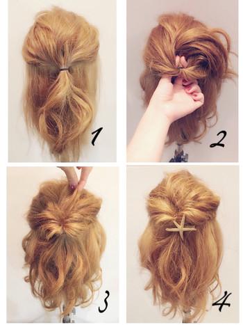 髪の毛が短くても、ハーフアップした髪で「くるりんぱ」